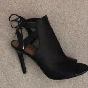 Black Open Toe-Tie Ankle Shoe-8.5